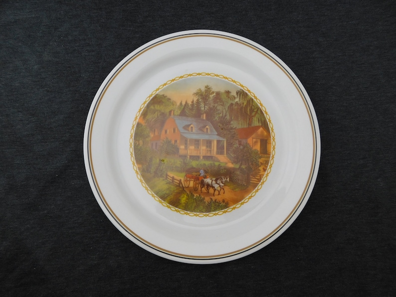Discontinued Corelle Ware Currier and Ives Dinner Plate - 10-1/4