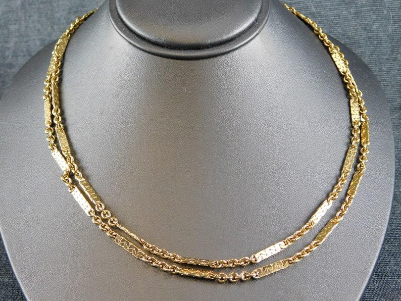 Singed Goldtone Collectible Vintage Designer Signed Monet Gold Tone Custom Link Chain Opera Length 54 Retro Alternating Golden