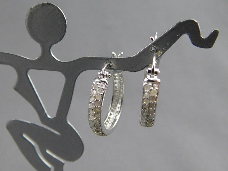 Sterling Silver .925 Genuine Diamond Hoop Earrings Pierced Signed FAS 4.3 Grams 34 Diameter 18 Wide Double Row of Stones Vintage