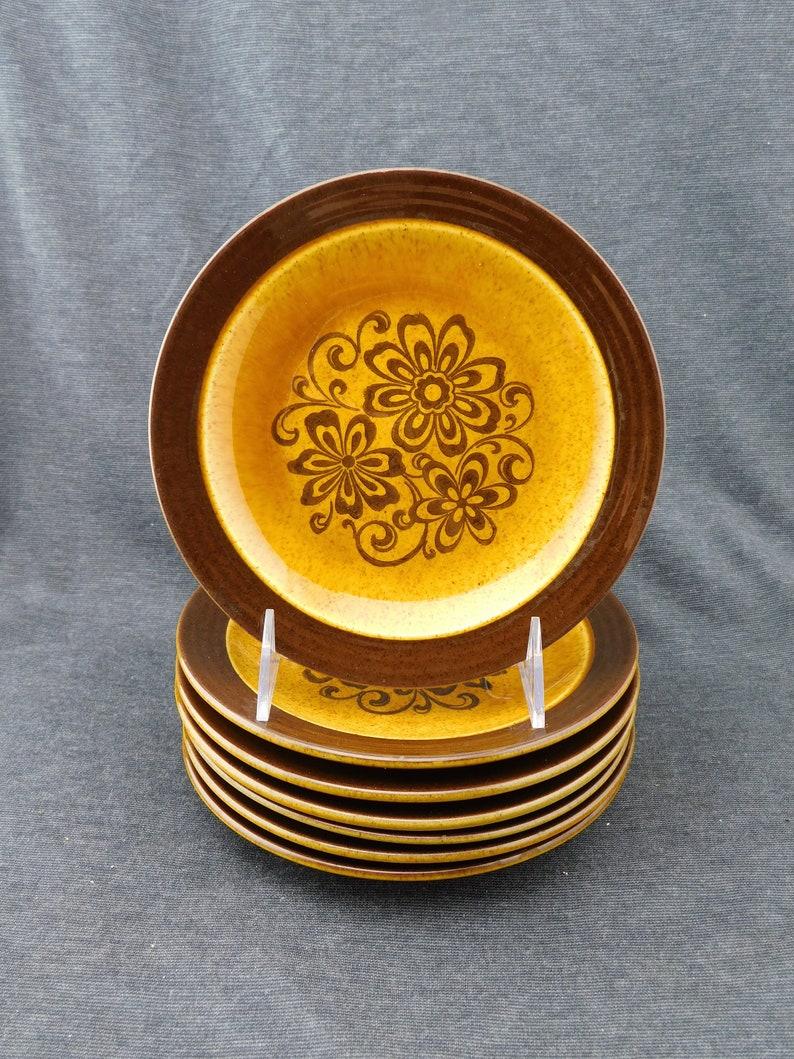 Brown Speckled Flowers Designer Orange 7-18 D Set of 7 Andre Ponche for Homer Laughlin Decostone Gold Glade Salad Plates Floral