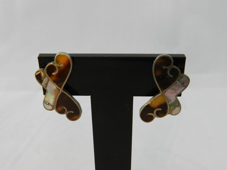 Vintage Mexican Sterling Silver and Abalone Shell Butterfly Screw Back Earrings Signed LS Mexico 1-18 Long