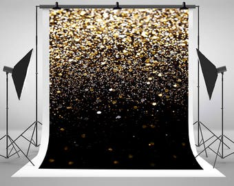 bokeh black and gold glitter photography backdrops no wrinkles photo backgrounds for christmas new year studio props