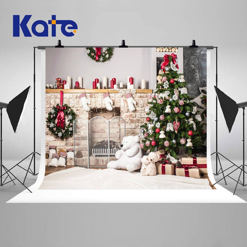 Christmas Tree White Brick Wall Fireplace Toy Bears Photography Backdrops Newborn Baby Photo Backgrounds For Children Studio Props