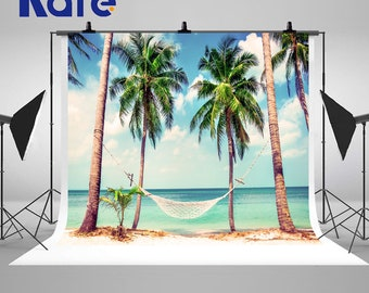 Tropical Beach Palm Trees and Hammock Photography Backdrops Beautiful Beach Photo Backgrounds for Dream Vacation Travels Studio Props