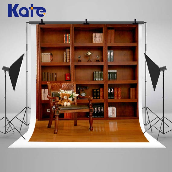 European Retro Bookshelf And Chair Photography Backdrops