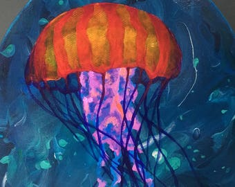Jellyfish painting (Drifting About) Original