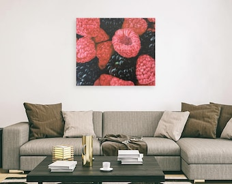 Realistic Raspberry and Blackberry foodie giclee print
