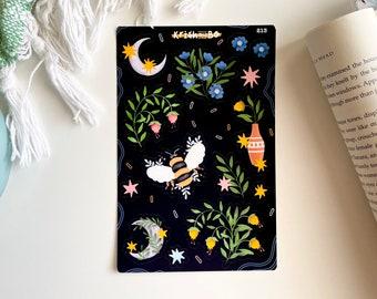 Vintage Moon Translucent Stickers Junk Journal Fairy Dust 58PCS Magical Forest Sticker Pack Moth Plants