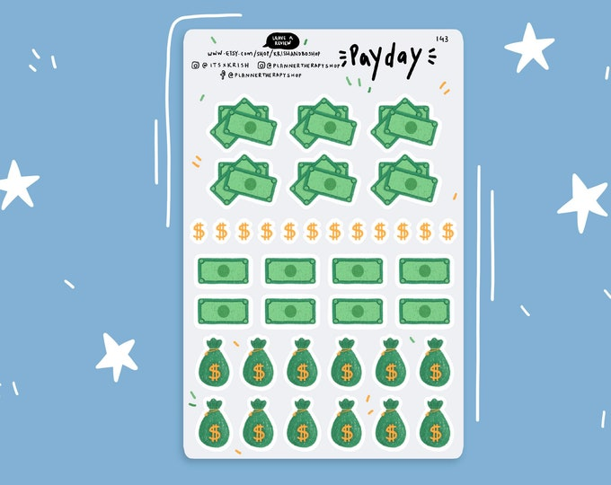 Featured listing image: Payday Stickers | planner stickers, bullet journal, sticker kit, money stickers, budget stickers, bujo stickers, weekly kit