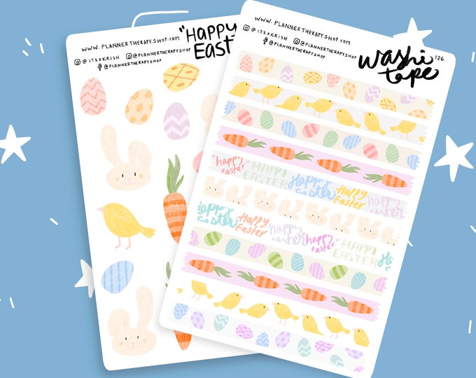 Featured listing image: Easter Stickers Bundle | planner stickers, weekly sticker kit, planner kit, bujo stickers, Easter bunny, Easter stickers, egg, Easter