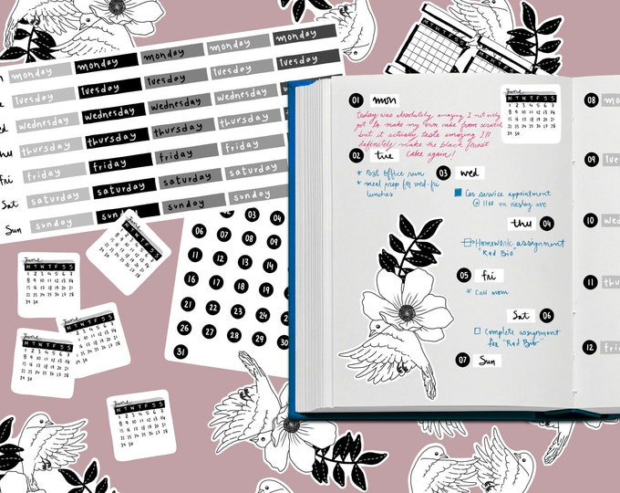 Featured listing image: 102   Bullet Journal Monthly Planner Kit   2020; Coloring Planner, Journaling kit, Planner stickers, Premade weekly planner, floral planner