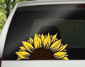 Half Sunflower Window Decals car decals wall decal vinyl decal mandala sticker Back Window sunflower decal