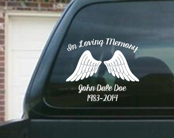In Loving Memory Car Decals >> In Loving Memory Car Window Decal With Angel Wings Car Decals