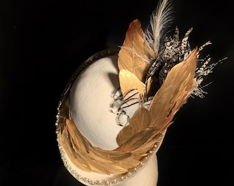 Great Gatsby! Luscious ivory velour cloche, gilded gold feathers, rhinestone and pearls, ostrich, Lady Amherst Pheasant and peacock feathers