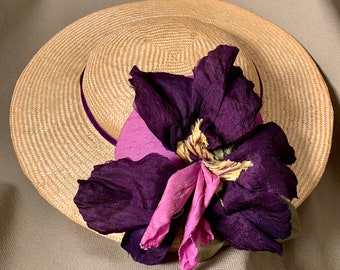 Sweet Sunny Day Hat- Church Hat-Derby Hat-Polo-Kentucky Derby-Garden Party-Wedding-Special Occasion Hat-Iris-Purple Flower-Summer Hat !
