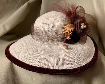 Ivory straw wide brim hat- Brown trim of feathers and netting-Vintage veiling on band-Kentucky Derby-Polo-Ascot-Belmont-Preakness Race Hats