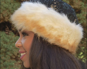 Vintage printed Suede and Faux Fur Hat. Stylish and easy to wear-Unique look! Holidays-Birthday-Winter hat-Christmas hat-Thanksgiving hat!