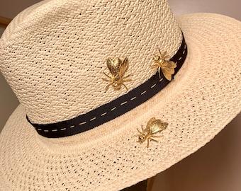 Natural Straw Fedora-Gold Bees adornments-Go To Hat-Summer Fedora-Everyday Hat-Unisex Hat-Travel Hat-Custom Made Straw Fedora-Straw Hat