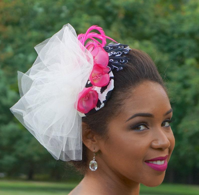 c082b8cd Black White and Hot Pink Fascinator Wedding hat Wedding | Etsy