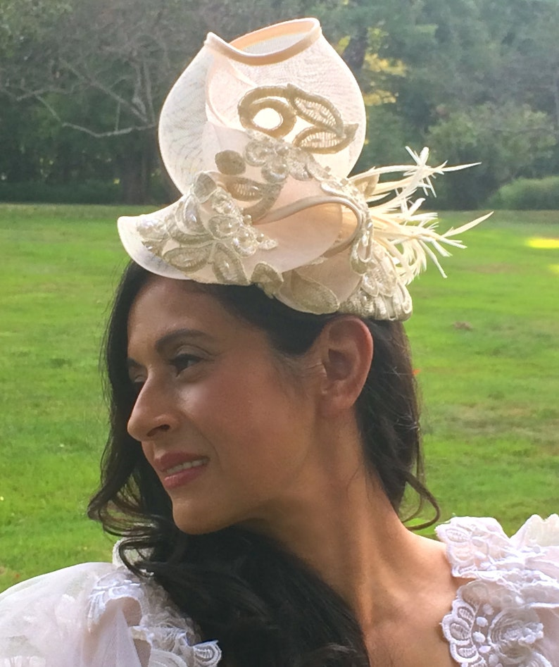 Ivory Embroidered Lace Fascinator with Gold Metallic threads image 0