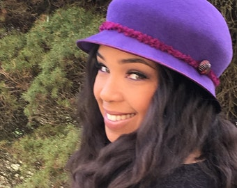 Purple Velour Felt Cloche-Ruby Chenille yarn-Vintage Jewel/Button-Church-Racetrack Hat-Wedding-Winter Races-Handmade Hat-Woman's Hat-Party!