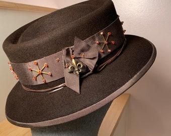 Dark Brown Pork Pie Hat-Unisex Hat-Mens Hat- Womans Hat-Hand Made Hat- Brass Findings-Orange Crystal beads-Fleur de Lis-leather Lashing!