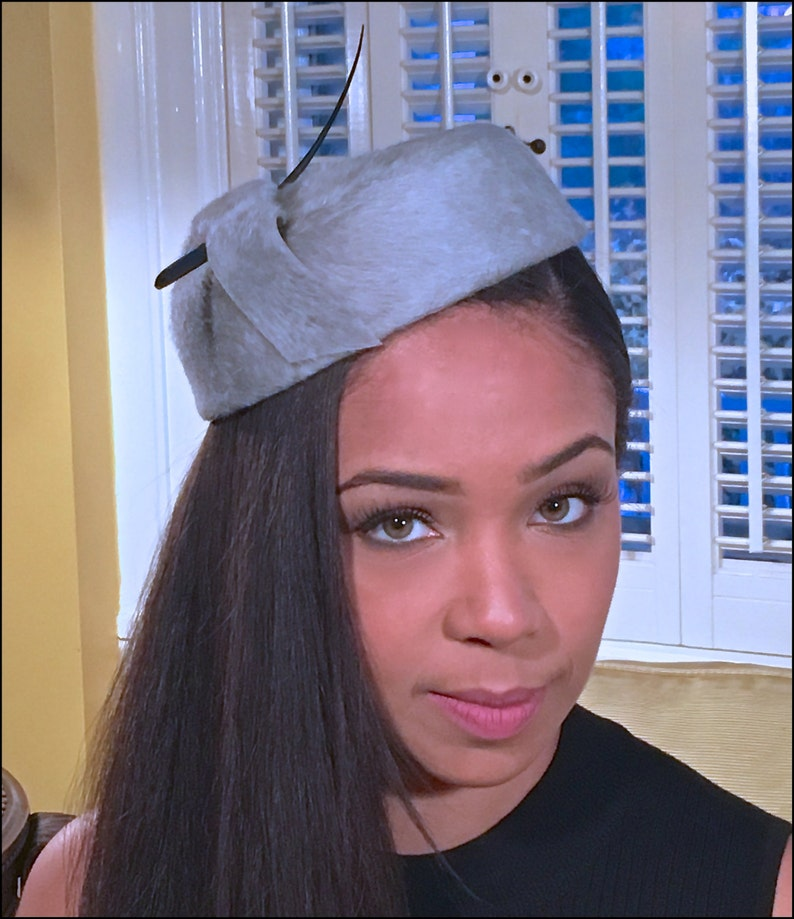 Grey Long Hair Fur Felt Pill Box Hat with Black Quill Spine image 0
