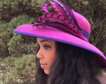 Fuchsia Pink Parasisal Straw Wide Brimmed hat-Purple PinkPheasant Feathers-Royal Ascot Hat-Belmount-Preakness-Kentiucky Derby- Wedding Hat !