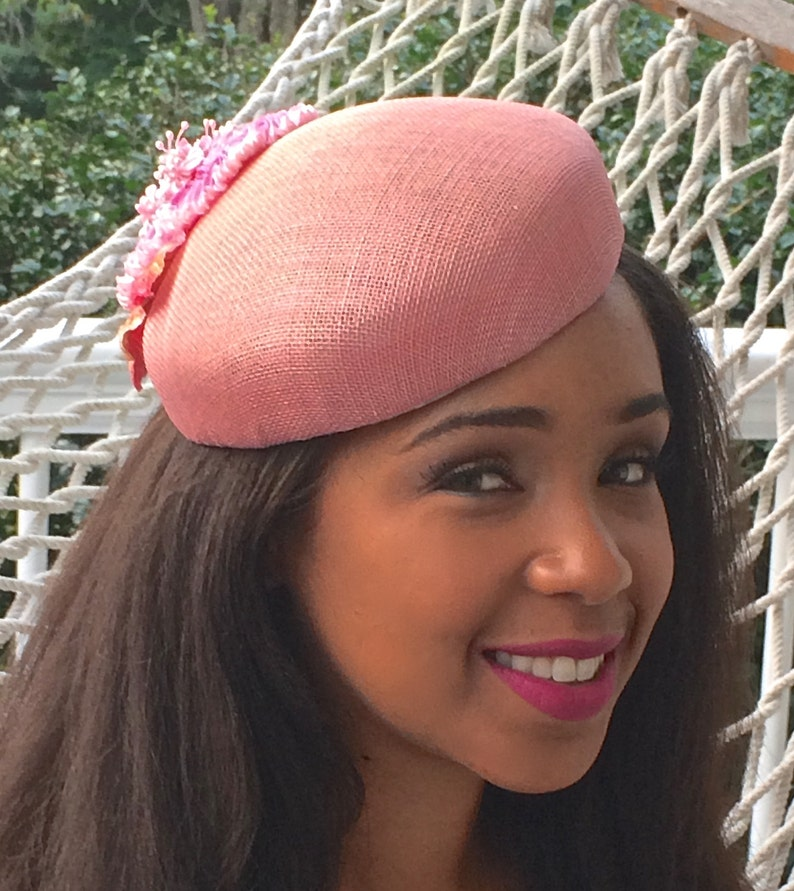 2b35bb4f6779a Pink Sinamay Pill Box Hat Wedding hat Mother of the Bride