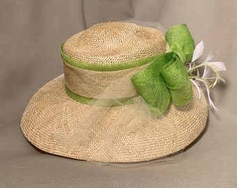 Natural knitted straw with Green Bow and white feathers-Church hat-Kentucky Derby-Polo-Garden Party- Luncheon-Wedding