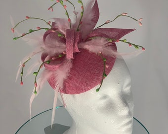 "Kentucky Derby Light Pink Fascinator ""Pinky Bud"""