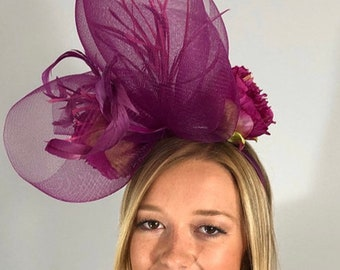"Kentucky Derby Fascinator ""Queen Aubergine"""