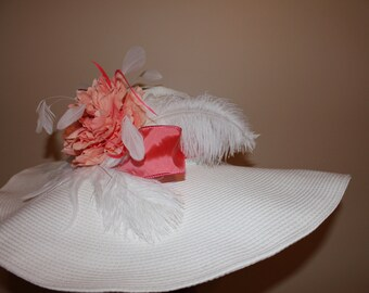 Coral and White Delight - White large brimmed Kentucky Derby Hat