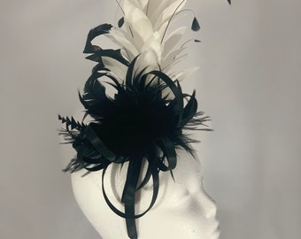 """Kentucky Derby Black and White Fascinator """"Black and White What a Sight"""""""