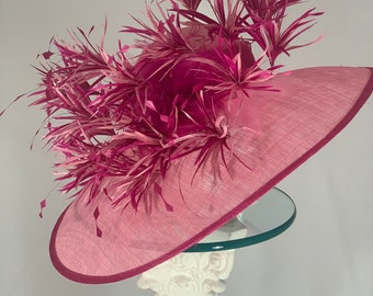 """Kentucky Derby Hat - wide brimmed assymtrical """"Pink Dynamite"""" sinamay woman's hat"""