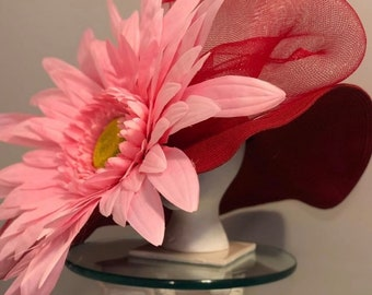 """Kentucky Derby Hat - wide brimmed red woman's hat """"Get Ahead in Pink and Red"""""""