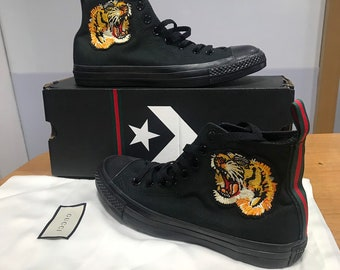 e79f692865d Custom converse inspired by Gucci tiger high tops
