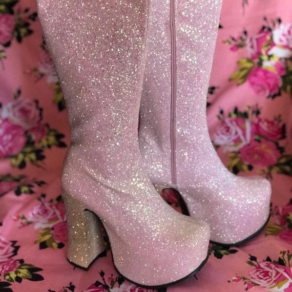 El dantes pink glitter vintage platform glam knee