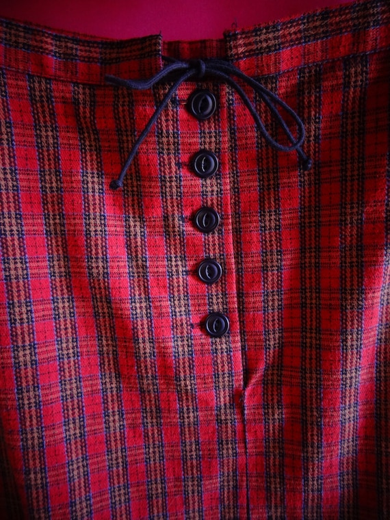 BETSEY JOHNSON red plaid high waisted pencil skirt