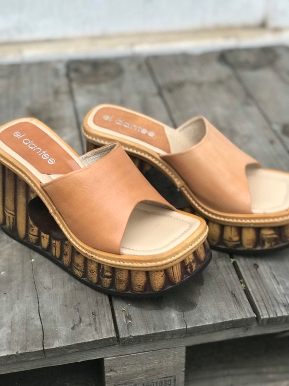 El Dantes tan slip on platform sandals boho gypsy