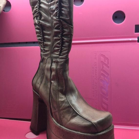 El Dantes vintage tan platform boots club kid rave