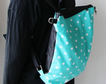 Zippered Backpack polka dots /vegan/ Mochila con cremallera lunares