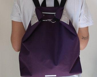 Zippered Backpack Purple /vegan/ Mochila con cremallera morada