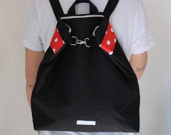 Zippered Backpack Polkadots /vegan/ Mochila con cremallera lunares