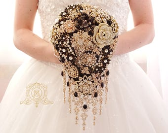 Gold and black BROOCH BOUQUET in waterfall cascading teardrop gold  Great Gatsby style, jeweled with rose design brooches for wedding