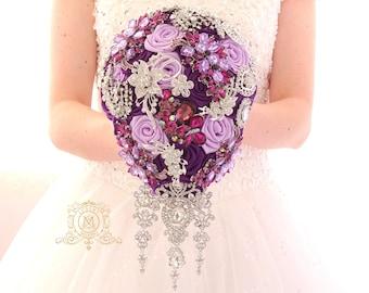 BROOCH BOUQUET. Plum and lavender cascading teardrop broach boquet. Silver jeweled purple wedding bridal bouquet