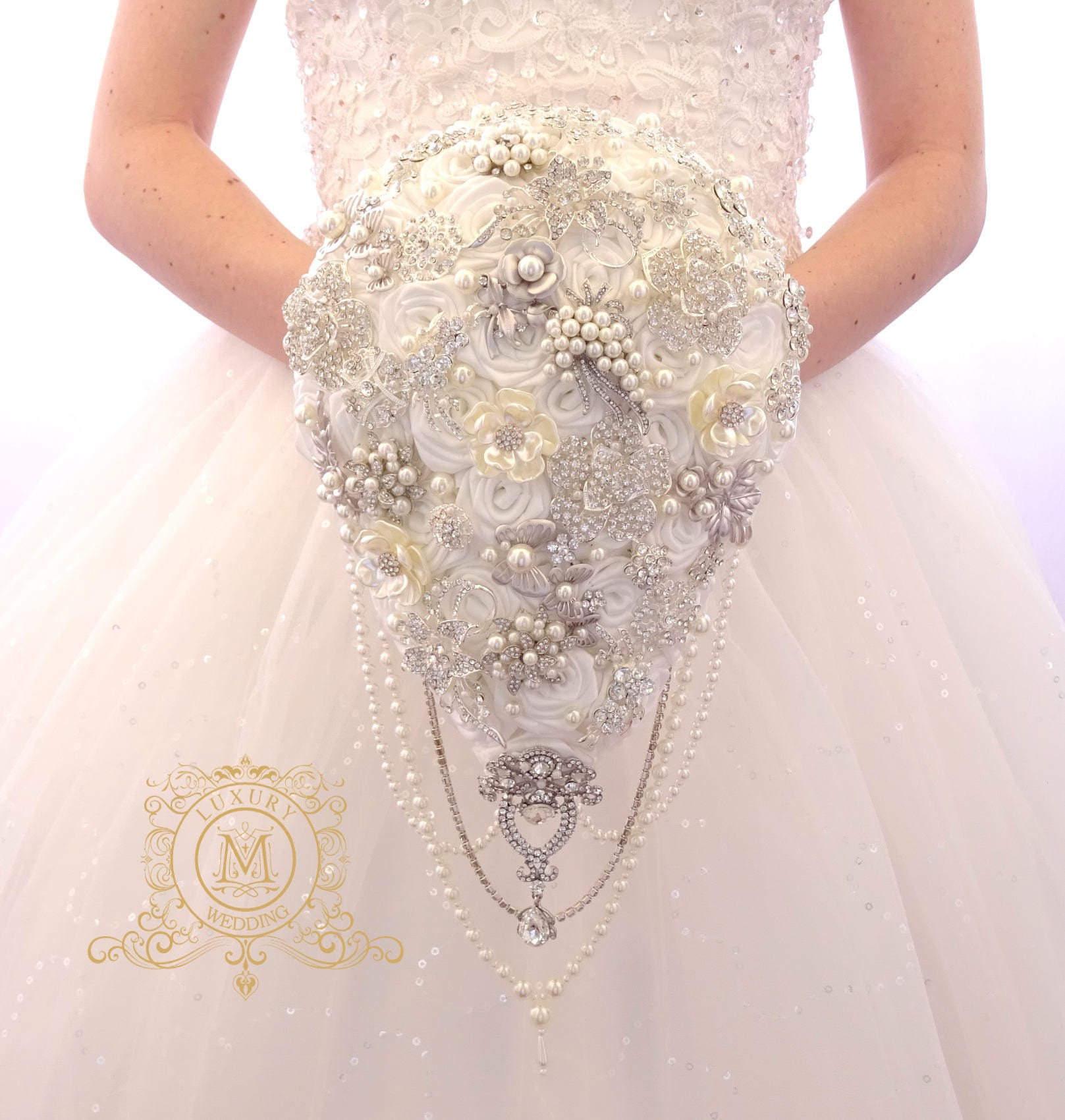 0e0e7767426dc Ivory or white BROOCH BOUQUET. Wedding teardrop bouquet. Cascading pearl  bridal boquet. Waterfall satin roses broach crystal bling jeweled