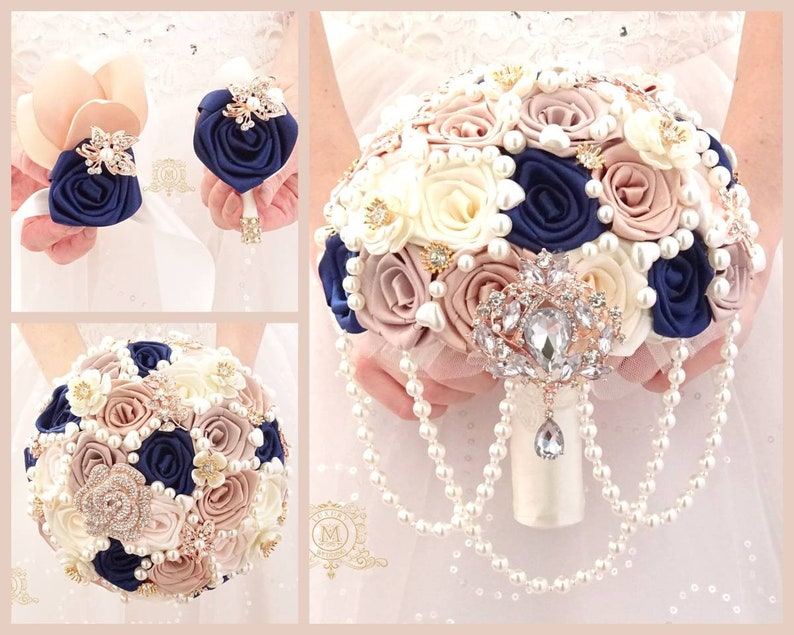 Navy champagne and rose gold cascading brooch bouquet corsage boutonnieres.