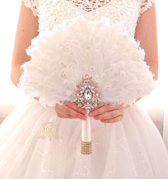 7f9ab704d60f0 WEdding Feather Fan Rose Gold bouquet luxury Bridal | Etsy