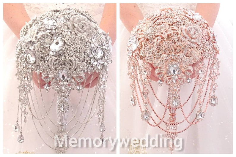 lux handle bouqet Luxury full jeweled silver  or rose gold brooch bouquet by MemoryWedding Wedding glamour Gatsby crystal bling cascading